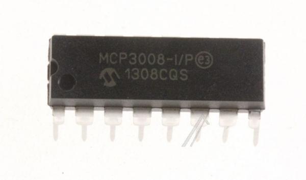 MCP3008IP ic 10bit adc, 2,7v, 8ch, spi, 16dip MICROCHIP,0