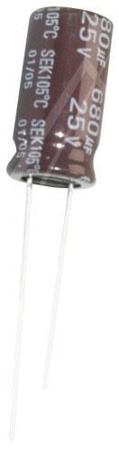 680uF | 25V Kondensator elektrolityczny 105°C 20mm/10mm,0