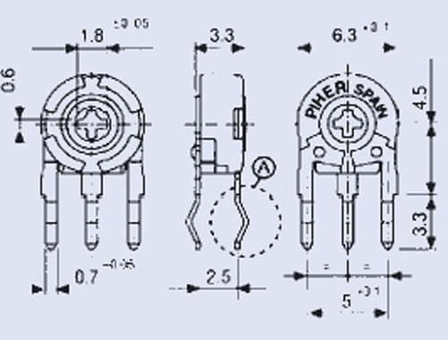 2,5KPT60,1W potencjometr stojący 2,5x6mm -piher- -rohs-,0