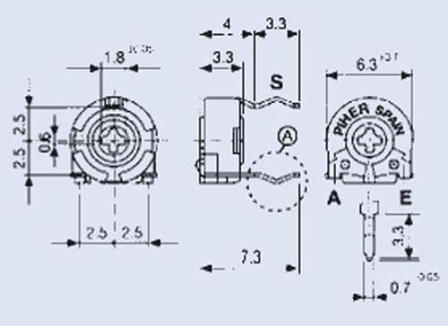 50KPT60,1W potencjometr leżący 5x6mm -piher-,0