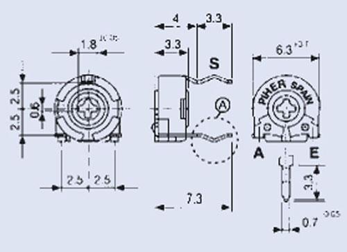 250KPT60,1W potencjometr leżący 5x6mm -rohs-konform-,0