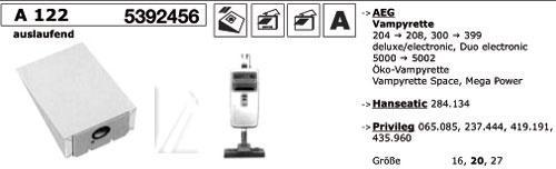 Worek do odkurzacza A122 Electrolux 10szt. (+2 filtry) 000039K,0