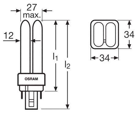 Żarówka | Świetlówka energooszczędna G24Q1 13W Osram dulux-d/e (biały zimny),0