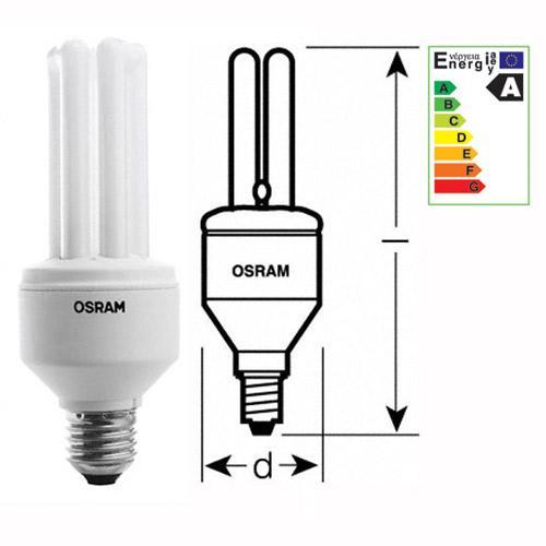 Żarówka   Świetlówka energooszczędna E14 11W Osram dulux intelligent longlife (biały ciepły),0