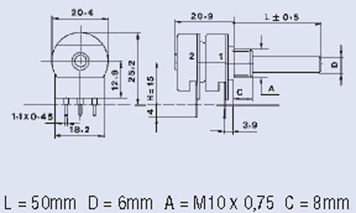 100K0,2W potencjometr obrotowy stereo logarytmiczny 6mm 0,2w,0