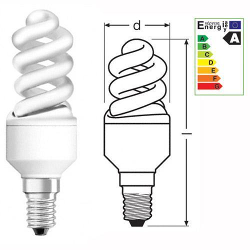 Żarówka | Świetlówka energooszczędna E14 9W Osram duluxstar nano twist (biały ciepły),0