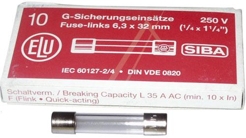 0.25A 250V F Bezpiecznik szybki (32mm/6.3mm) 10szt.,0
