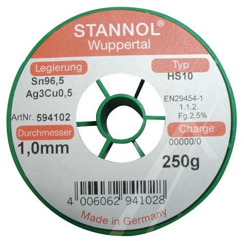 Cyna 1mm 250g Stannol - bezołowiowa,0