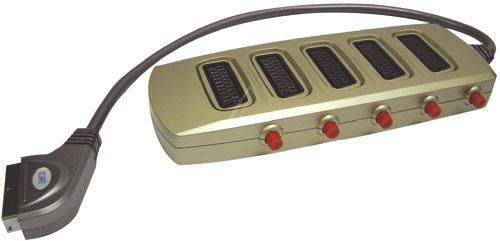 Rozgałęźnik przełącznik 50cm SCART - SCART (wtyk/ gniazdo x5) standard,0