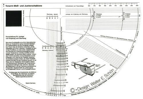 11144 szablon do ustawiania wkładeki igiel gramofonowych,0