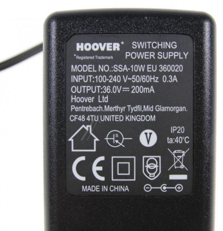 Ładowarka 36V 0.2A (48006268) do odkurzacza Hoover,1