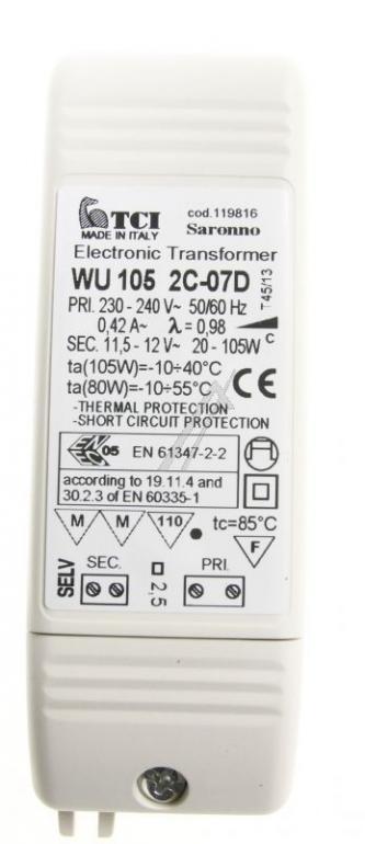 105020126 TRANSFORMATOR ELEKTRONISCH. 105 W. 220 V FALMEC,1
