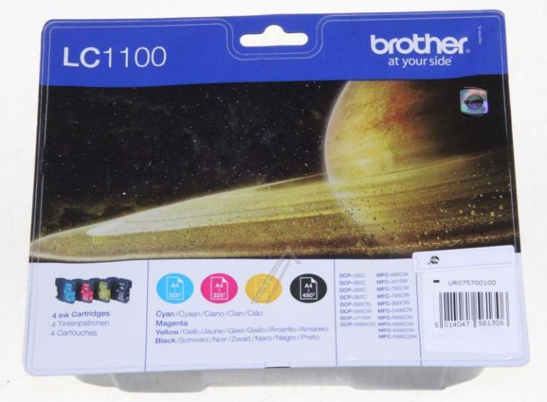 Tusze: czarny, cyjan, magenta, żółty do drukarki Brother LC1100VALBPDR,0