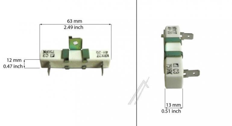 Rezystor do piekarnika Bosch 00187357,2