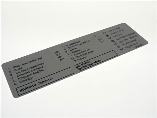 Tabela programów panelu sterowania do pralki Fagor LJ4D000B7,0
