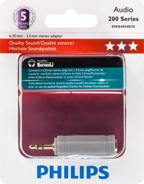 SWA4554S10 ADAPTER, KLINKEN-STECKER 3,5 MM / KLINKEN-KUPPLUNG 6,35 MM PHILIPS