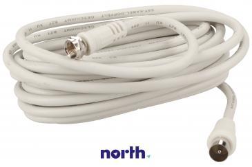 Kabel antenowy 5m COAX - Złącze F (wtyk/ wtyk) standard