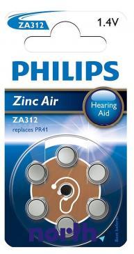 ZA312 Bateria Zn-air 1.4V Philips (6szt.) aparatów słuchowych