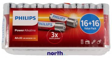 R6 | LR6 | Bateria AA (Power Alkaline) 1.5V Philips (32szt.)