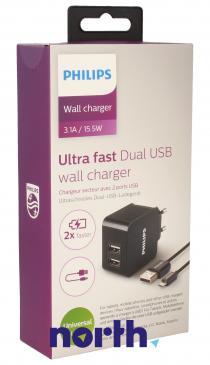 Ładowarka sieciowa USB x2 uniwersalna + kabel micro USB DLP2307U/12 do smartfona Philips