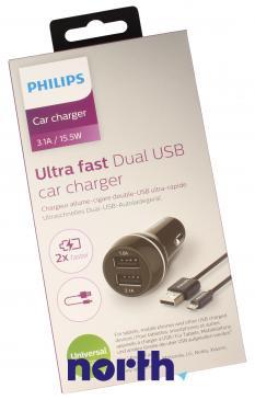 Ładowarka samochodowa USB x2 uniwersalna + kabel USB micro DLP2357U/10 do smartfona Philips DLP2357U10