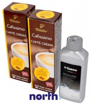Zestaw | Odkamieniacz CA6700 250ml Saeco + kapsułki CAFISSIMO z kawą Caffe Crema FINE AROMA Tchibo 2x10szt. do ekspresu do kawy