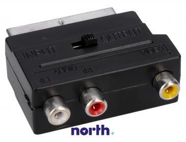 Adapter przełącznik SCART - CINCH (wtyk/ gniazdo x3) standard