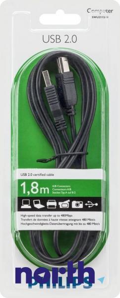 Kabel 1.8m USB A - USB B (wtyk/ wtyk) SWU211210,0