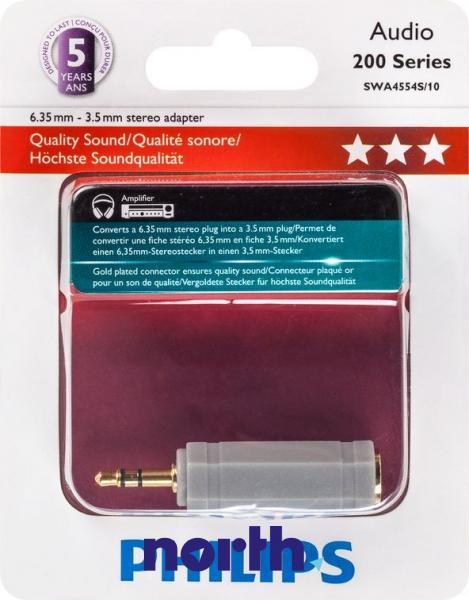 SWA4554S10 ADAPTER, KLINKEN-STECKER 3,5 MM / KLINKEN-KUPPLUNG 6,35 MM PHILIPS,0