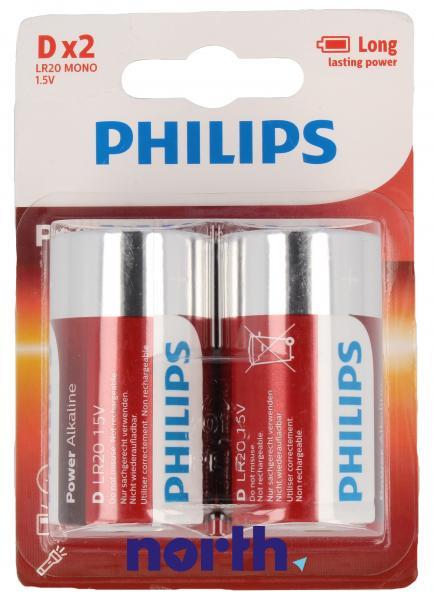 R20 | LR20 | MN1300 Bateria D alkaliczna 1.5V Philips (2szt.),1