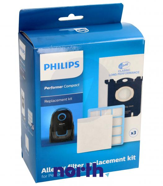 Worki FC8074/02 (3szt.) + filtry wlotowy / wylotowy (2szt.) do odkurzacza Philips FC807402,2