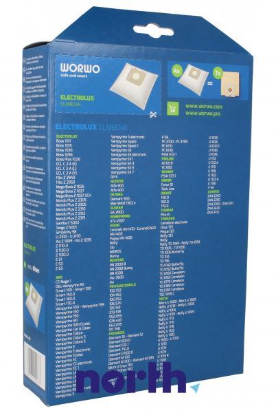 Worki Perfect Bag Worwo ELMB04K (4szt.) + filtr wlotowy / wylotowy (2szt.) do odkurzacza ELMB04K,1