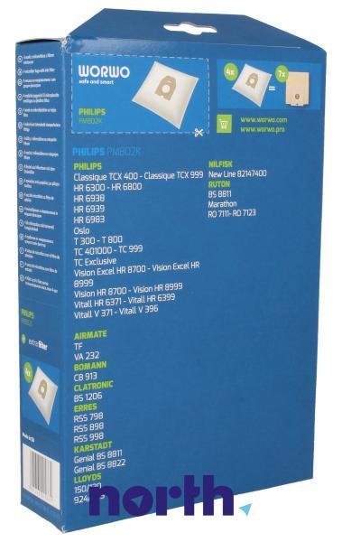 Worki Perfect Bag Worwo (4szt.) + filtr wlotowy (1szt.) do odkurzacza PMB02K,1