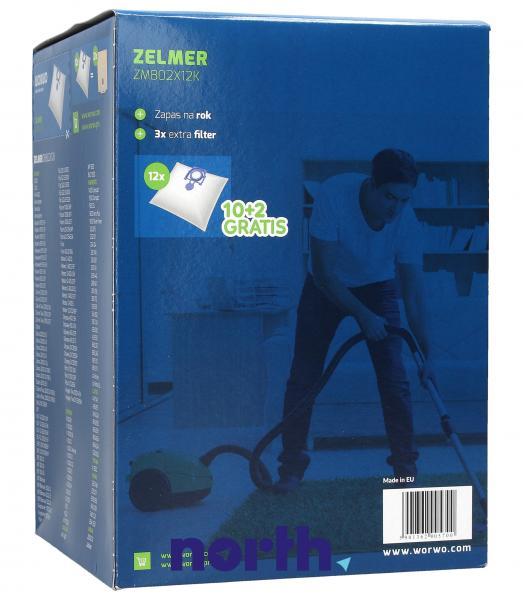 Worki Perfect Bag Worwo (12szt.) + filtr wlotowy (3szt.) do odkurzacza ZMB02K/12,1