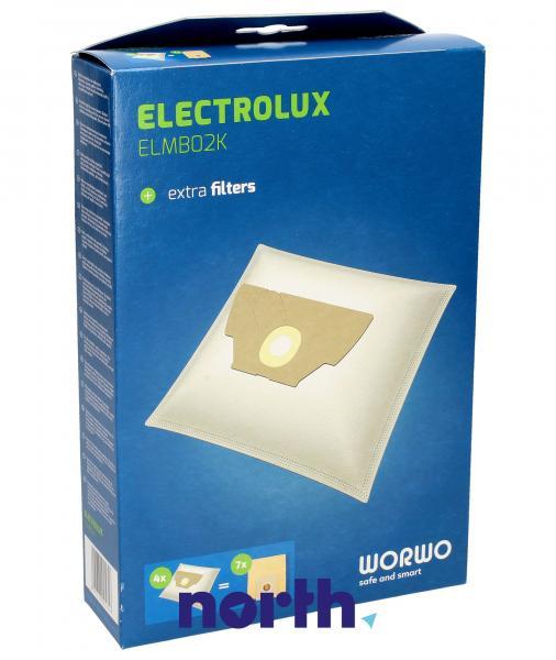 Worki Perfect Bag Worwo EL02 (4szt.) + filtr wlotowy / wylotowy (2szt.) do odkurzacza Electrolux ELMB02K,0