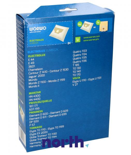 Worki Perfect Bag Worwo EL02 (4szt.) + filtr wlotowy / wylotowy (2szt.) do odkurzacza Electrolux ELMB02K,1