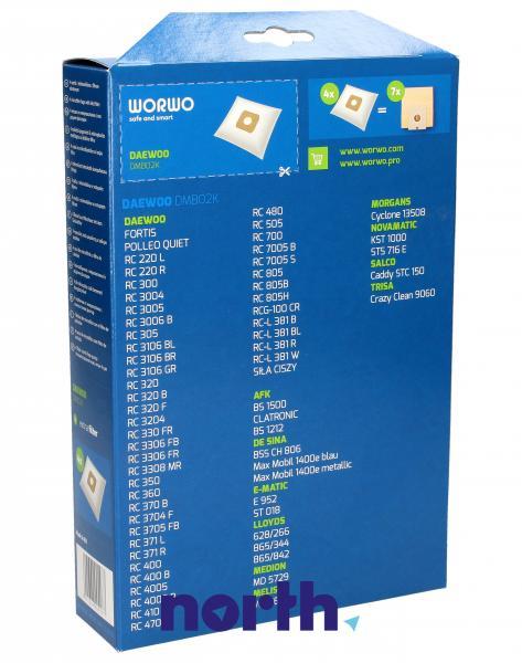 Worki Perfect Bag Worwo (4szt.) + filtr wlotowy (1szt.) do odkurzacza Daewoo DMB02K,1