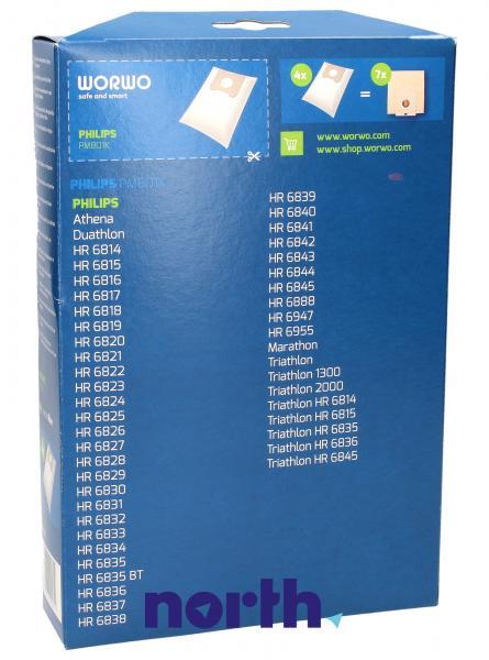 Worki Perfect Bag Worwo (4szt.) + filtr wlotowy (1szt.) do odkurzacza PMB01K,1