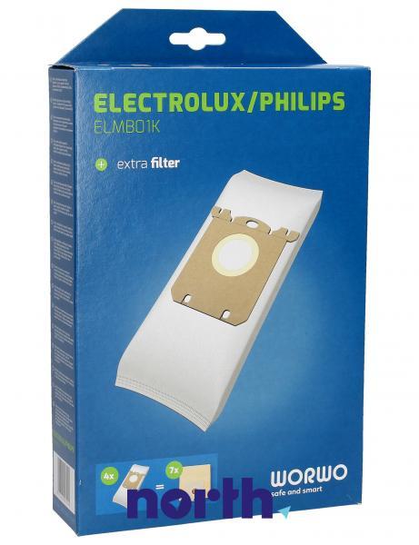 Worki Perfect Bag Worwo ELMB01K (4szt.) + filtr wlotowy (1szt.) do odkurzacza ELMB01K,2