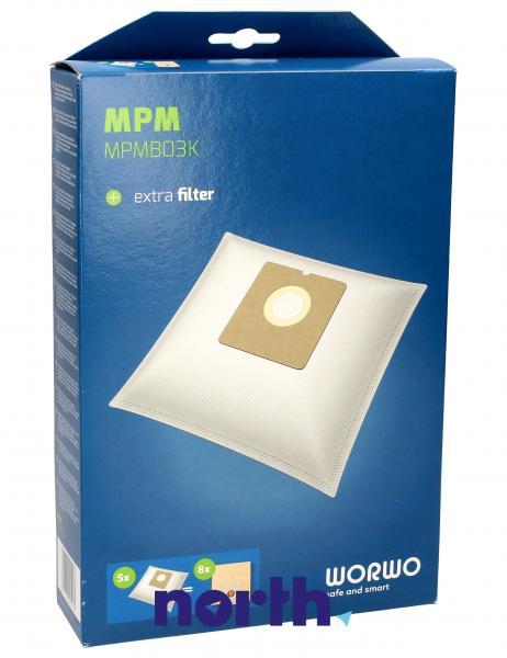 Worki Perfect Bag Worwo MPMB03K (5szt.) + filtr wlotowy (1szt.) do odkurzacza MPMB03K,0