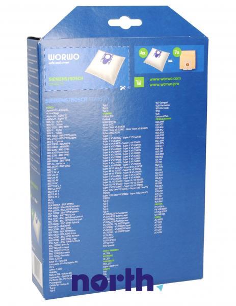 Worki Perfect Bag Worwo H (4szt.) + filtr wlotowy (1szt.) do odkurzacza Siemens SBMB01K,1