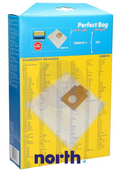 Worki Perfect Bag Worwo (4szt.) + filtr wlotowy do odkurzacza EMB01K,1