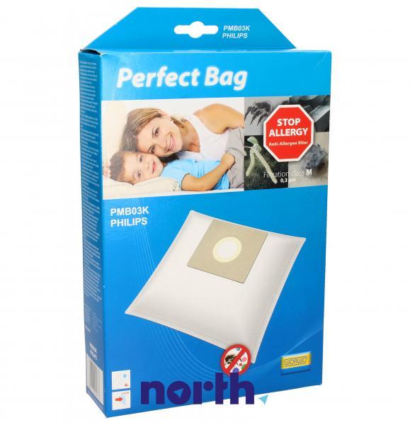 Worki Perfect Bag Worwo (4szt.) + filtr wlotowy (1szt.) do odkurzacza PMB03K,0
