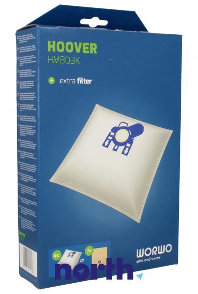 Worki Perfect Bag Worwo (4szt.) + filtr wlotowy (1szt.) do odkurzacza HMB03K,0