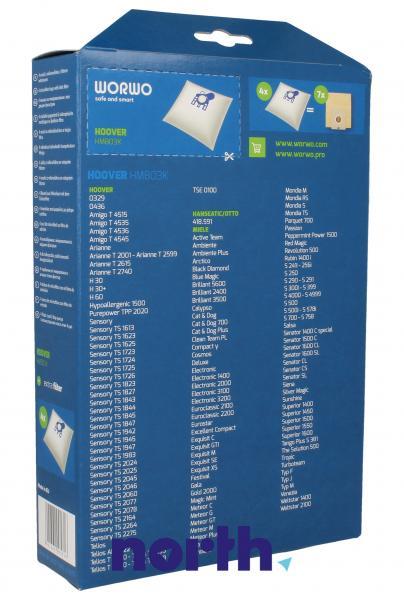 Worki Perfect Bag Worwo (4szt.) + filtr wlotowy (1szt.) do odkurzacza HMB03K,1