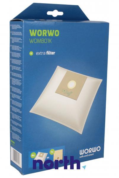 Worki Perfect Bag Worwo (4szt.) + filtr wlotowy (1szt.) do odkurzacza WOMB01K,0