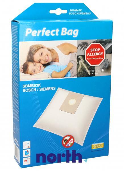 Worki Perfect Bag Worwo K (4szt.) + filtr wlotowy (1szt.) do odkurzacza Siemens SBMB03K,0