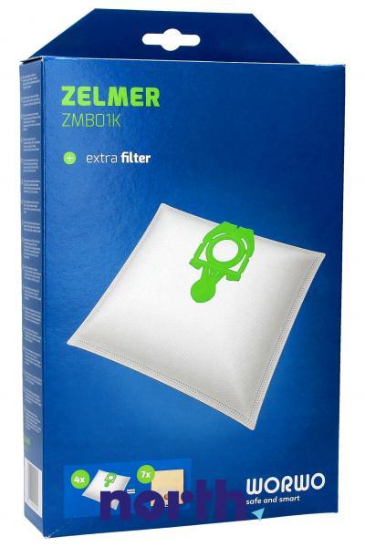 Worki Perfect Bag Worwo ZMB01K (4szt.) + filtr wlotowy do odkurzacza Zelmer ZMB01K,0