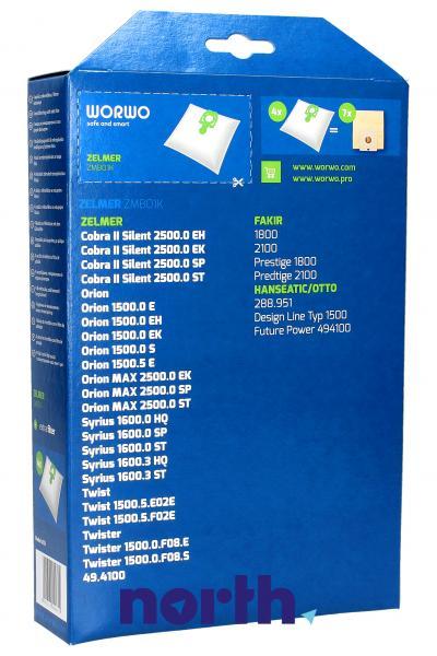 Worki Perfect Bag Worwo ZMB01K (4szt.) + filtr wlotowy do odkurzacza Zelmer ZMB01K,1