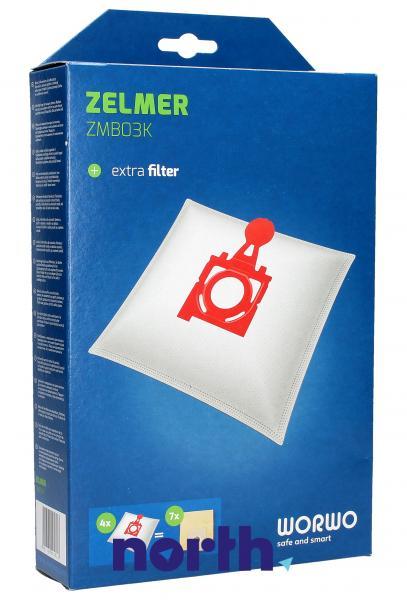 Worki Perfect Bag Worwo ZMB03K (4szt.) + filtr wlotowy do odkurzacza Zelmer ZMB03K,1
